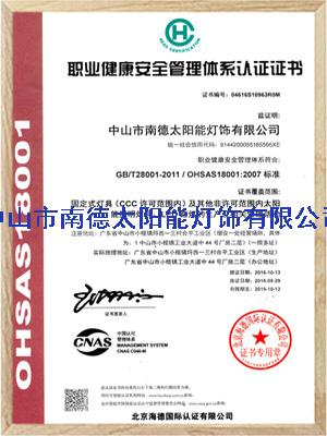 南德职业健康安全管理体系认证证书