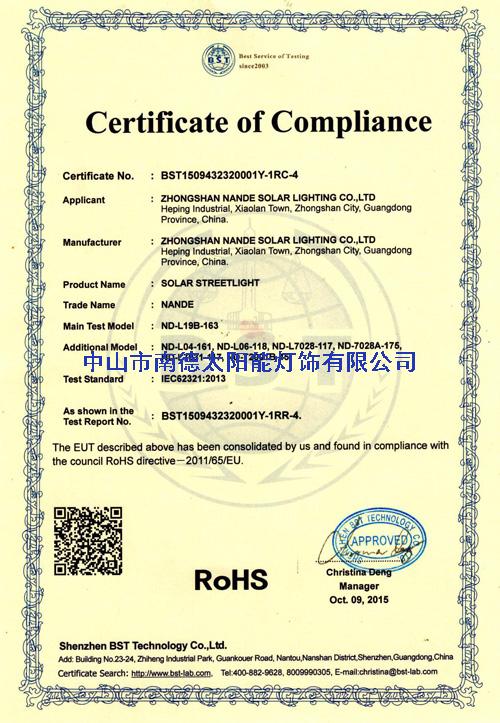 南德ROHS认证证书