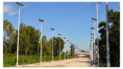 河南信阳捐赠的太阳能LED路灯