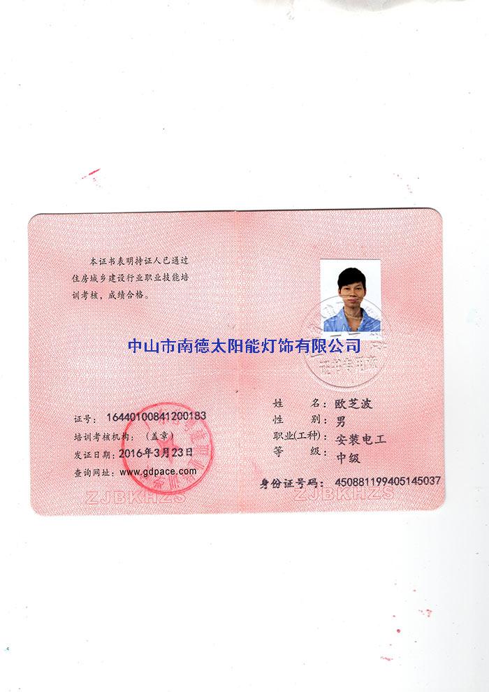 14安装电工证-欧之波